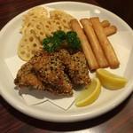 包丁や - 3種揚げ盛り(鶏胡麻香り揚げ + 明太チーズスティック + れんこんチップス)(5人分)