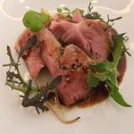 60496673 - 愛知県半田産豚肩ロース肉の低温ロースト 柚子胡椒風味の赤ワインソース