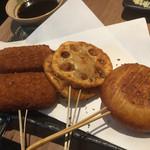 楽空 - もちチーズ串&れんこん挟み揚げ串&クリームコロッケ串