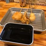 夕日家串揚げ - 庄内豚、舞茸、うずら玉子
