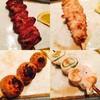 鳥之介 - 料理写真:左上ハツ、右上せせり、左下つくね、右下シソ巻きササミ