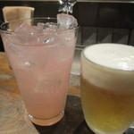 カレーうどん ひかり - 生ビールと白桃おろしソーダ