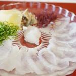魚信旅館 - オコゼ薄造り 紅葉卸し・青葱