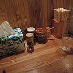つけ麺屋 やすべえ - 卓上にはけずり節、コショウ、酢が配備。どうも刻み玉ねぎもあるらしい。