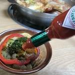 神戸ちゃんこ部屋 - トマトちゃんこ鍋 1回戦め 薬味はタバスコ