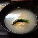 ふじ居 - 椀:白海老真丈、加賀蓮根餅 みぞれ仕立て