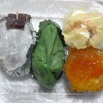 和菓子 ちぐさ - ころ柿・草もち・アンズゼリー・きみしぐれ