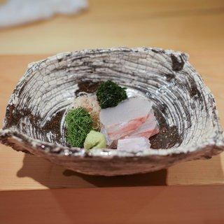 神楽坂 石かわ - 料理写真:平目のお造り、浜名湖の青海苔が美味しい