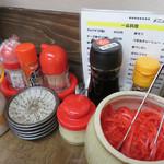 元祖赤のれん雄ちゃんラーメン - 今でこそ、どこのラーメン店にも辛子高菜が置かれていますが、 昔ながらのお店には、辛子高菜はありません。