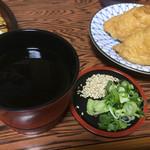 柳川 - 薬味はゴマと山葵のネギ