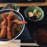 天ぷら丸中 - 天丼定食(1100円)