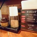 永斗麺 - 2017年1月 カウンター席の薬味たち