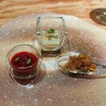 中華 たかせ - レッドビーズ、うずまさのビーツ ,日本の食材で作ったXO醤,ザーサイのピューレ