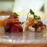 中華 たかせ - 本マグロの紹興酒漬け,スミイカのあぶり、棒棒鶏ソース