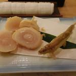 つきじ天辰 - ホタテ・わかさぎの天ぷら