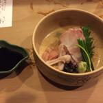 Shummitaihei - 料理写真:越前くえの刺身 脂のノリ良し 肝カワハギより美味しい