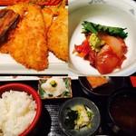 京ばし松輪 - アジフライ定食+海鮮小鉢