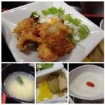 中華料理 八仙閣 - ◆上:鶏のから揚げ◆左下:卵スープ。これも薄味。 ◆下中:ザーサイと沢庵。 ◆右下:杏仁豆腐。普通に美味しい。