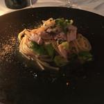61442472 - パスタ1 ブリの桜燻製スパゲッティ カラスミと芽キャベツ アーリオオーリオ ソース