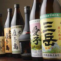 屋久島焼酎や全国各地から取り寄せたお酒をご用意