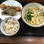 讃岐うどん河野 - かけうどん、竹輪と茄子の天ぷら、いりこ飯('17/01/22)