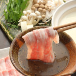 銀座 竹の庵 - 霜降りイベリコ豚Puro de bellotaトントロの豆乳しゃぶしゃぶ~黒胡麻ポン酢で~