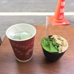 ななや - セットお茶(50円)と2種類のジェラート(650円)合計(700円)
