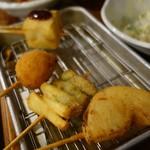 はなまる串カツ製作所 - (2016/12月)タマネギ、アスパラ、タコ焼き、京豆腐