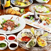 自慢の牡蠣料理や、人気の一品を味わえる充実のコース
