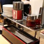 石松  - テーブルの調味料など