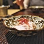 京天神 野口 - ふぐの身とてっさにたっぷりの白子のソースをかけて。