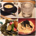 六本木 浜藤 - 茶碗蒸し、お酒は焼酎ロック、フグのから揚げ、てっちりの雑炊