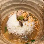 焼きあご塩らー麺 たかはし - 残ったチャーシュー、アラレ、柚子胡椒、わさびでお茶漬けに