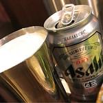 牛かつ もと村 - 缶ビールですが、満足です