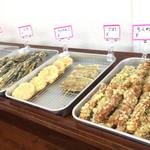 のぶ屋 - 天ぷら類。この時はちょっと少なめでした。