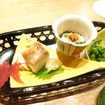赤坂あじさい - 前菜3種盛り 菜の花辛子和え 白子ポン酢 穴子鮨