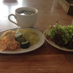 Cafe de RocoMoco - ビュッフェのスープ グリーンリーフ  キムチ╰(*´︶`*)╯♡