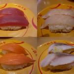 スシロー - 黄色の皿は100円均一です。まぐろ〇、たい◎、サーモン〇、とろさば柚子大根のせ△