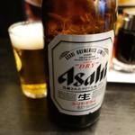 会津喜多方ラーメン 小法師 - ビール中瓶、今日もうまい