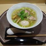 らぁ麺 山雄亭 - 塩らぁ麺+彩美卵の味玉