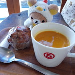 marugo deli ebisu - バナナマフィンとバターナッツカボチャのスパイススープ