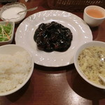 全家福 - 黒酢の酢豚定食1100円