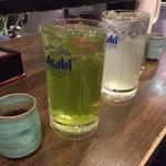 ときわ食堂 - 緑茶ハイ(大)、レモンハイ(大) 830円