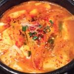 にっこりマッコリ - 純豆腐チゲのアップ。