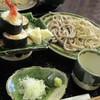 手打ちそば 秋新 - 料理写真:海老天巻き寿しと二色もり1200円