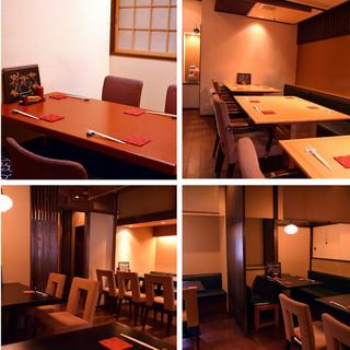 店内「1Fテーブル席」「2Fテーブル席」「完全個室席」