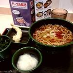 ゆで太郎 - 朝そば(おろし) 温そば、かき揚げ→ワカメに変更 330円 + 海老天(無料クーポン利用)