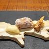 傳 - 料理写真:先付 百合根の天ぷら、海老真丈、九州早取りの筍揚げ