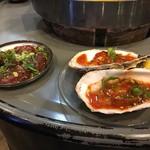 立喰☆焼肉 瑞園 - 炙りレバー 牡蠣チャンジャ