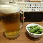 めりけんはとば - 生ビール(290円)+席料(200円)